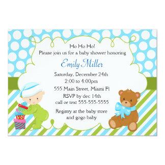 Baby Boy Shower Invitation Christmas Teddy Bear