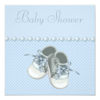 Baby Boy Shower Shoes, Clothes, Pearls & Hearts 13 Cm X 13 Cm Square Invitation Card