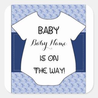 Baby Boy Shower Sticker Stork Bodysuit Blue