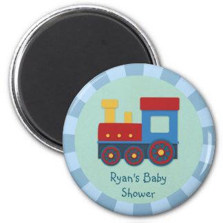 Baby Boy Shower: Yellow, Red & Blue Train 6 Cm Round Magnet