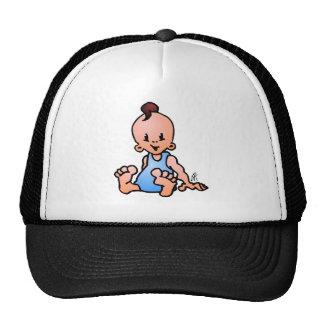 Baby boy sitting trucker hat