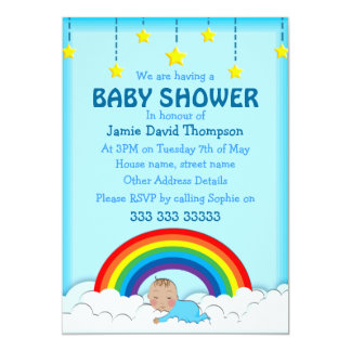 "Baby boy sleeping under a Rainbow and clouds 5"" X 7"" Invitation Card"