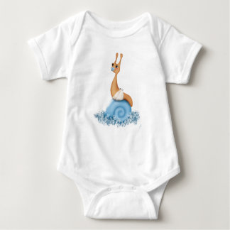 Baby Boy Snail in  Diaper. Baby Bodysuit