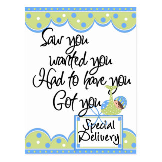 Baby Boy Special Delivery Announcement Cards Postcard