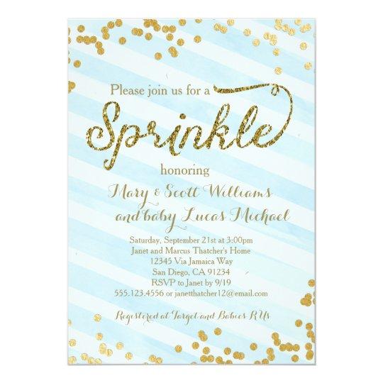 baby boy sprinkle shower invitation blue gold zazzle co uk