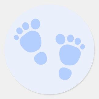 Baby Boy Sticker, Blue Feet Round Sticker
