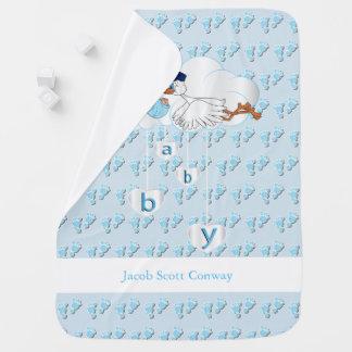 Baby Boy Stork Baby Blanket