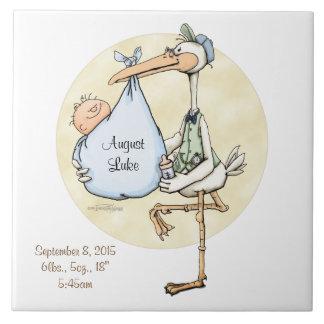 Baby Boy Stork Delivery Custom Tile