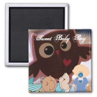 Baby Boy Sweet Cute Owl Personalize Peace Love Joy Refrigerator Magnets