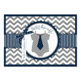 Baby Boy Tie Chevron Print Baby Shower 13 Cm X 18 Cm Invitation Card