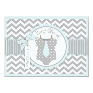 Baby Boy Tie Chevron Print Baby Shower Card