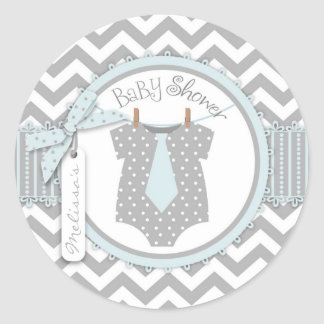 Baby Boy Tie Chevron Print Baby Shower Round Sticker