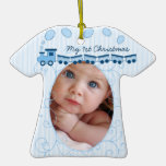 Baby Boy Tiny Tee Photo Ornament with Birth Stats