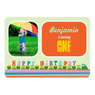 Baby Boy Toy Train 1st Birthday Party Invitation