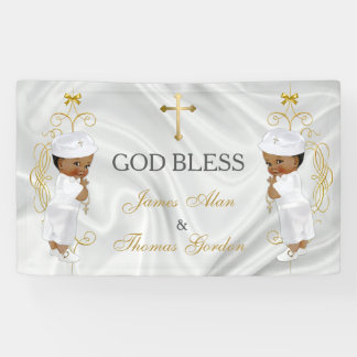 Baby Boy Twins Baptism Christening Gold Ethnic Banner