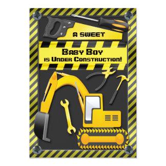 Baby Boy Under Construction Shower 13 Cm X 18 Cm Invitation Card