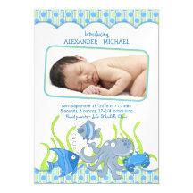 Baby Boy Under the Sea Birth Announcement