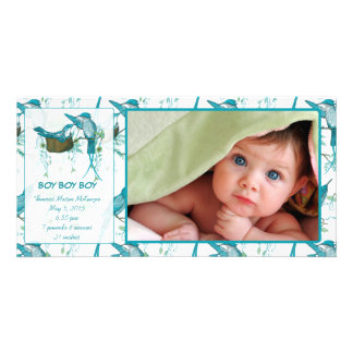 Baby Boy Vintage Baby Bird Picture Announcement Custom Photo Card