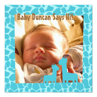 Baby Boy with Blue Giraffe Prints and Silhouettes 5.25x5.25 Square Paper Invitation Card