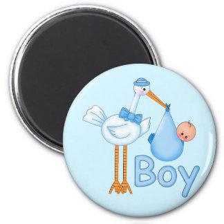 Baby Boy with Stork 6 Cm Round Magnet
