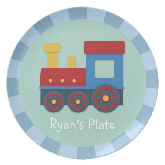 Baby Boy: Yellow, Red & Blue Train Plate