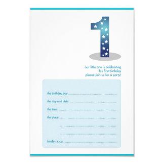 baby boy's 1st birthday design 9 cm x 13 cm invitation card