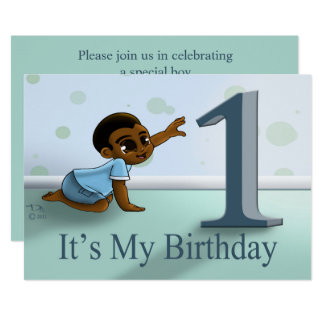 """Baby Boy's 1st Birthday Invitation"" 7"" x 5"" Card"