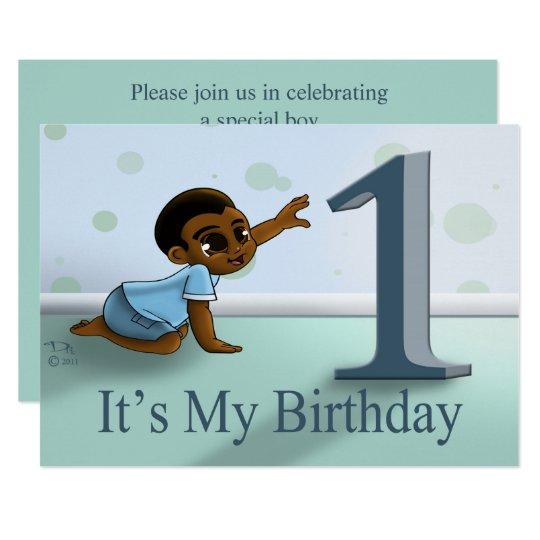 """""""Baby Boy's 1st Birthday Invitation"""" 7"""" x"""