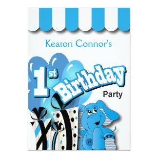 Baby Boy's 1st Birthday Party 13 Cm X 18 Cm Invitation Card