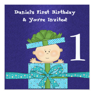 "Baby Boys 1st  Birthday Party TEMPLATE Invitation 5.25"" Square Invitation Card"