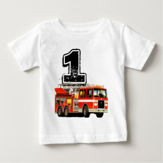 Baby Boys 1st Birthday Red Fire Truck T-shirts