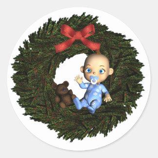 Baby Boy's 1st Christmas Round Sticker