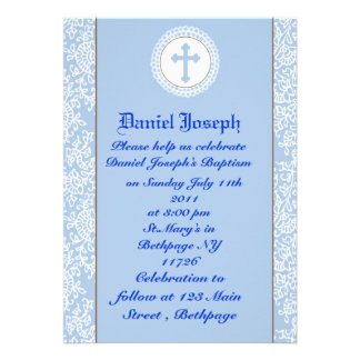 Baby Boys Baptism Christening Personalized Invitation