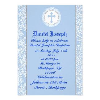 Baby Boys Baptism Christening Personalized Invite