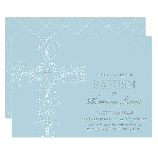 Baby Boy's Baptism Invitation with Cross, Initials