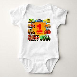 Baby Boys Custom Construction Truck 1st Birthday Baby Bodysuit