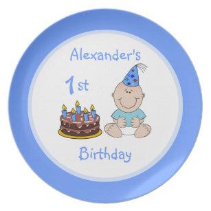 Groovy Blue Boys First Birthday Home Furnishings Accessories Zazzle Co Uk Funny Birthday Cards Online Kookostrdamsfinfo