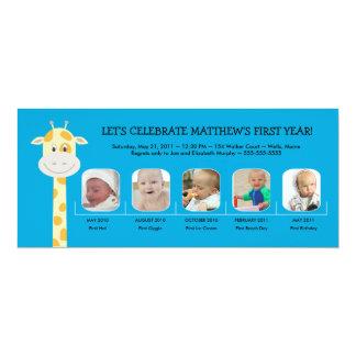 Baby Boy's First Birthday Year 10 Cm X 24 Cm Invitation Card