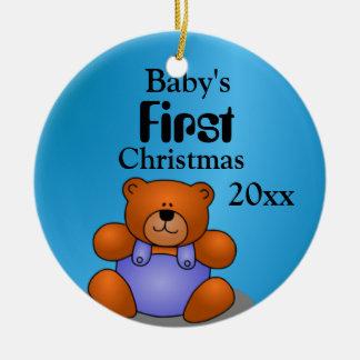 Baby Boy's First Christmas Round Ceramic Decoration