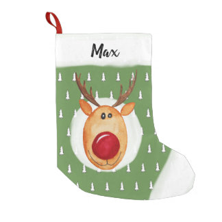 Baby Boy's First Christmas Rudolph Tree with Name Small Christmas Stocking