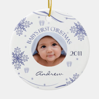 Baby Boy's First Christmas Snowflake Photo Ornamen Round Ceramic Decoration