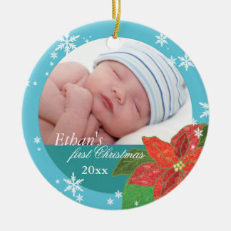 Baby Boy's First Christmas Teal Photo Ornaments