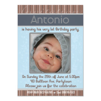Baby Boys Invitation PhotoTemplate -Antonio