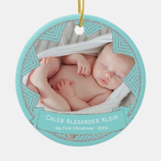 Baby Boys Powder Blue Personalised Christmas Photo Christmas Ornament