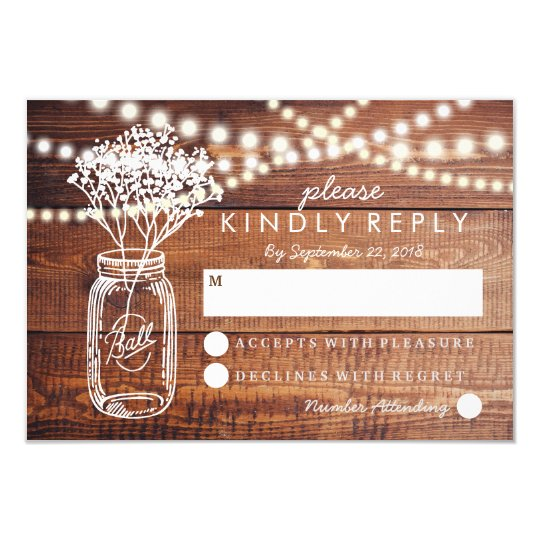 BABY BREATH RUSTIC COUNTRY MASON JAR WEDDING RSVP