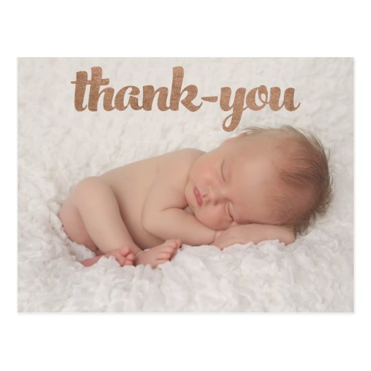 Baby Bronze Thank You Birth Announcement Photo Postcard