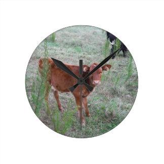 Baby Brown Cow . Round Wallclock