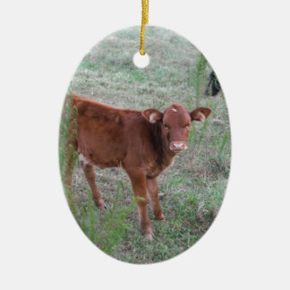 Baby Brown Cow . Ornament