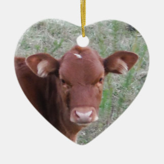 Baby Brown Cow face Ceramic Heart Decoration