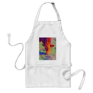 Baby Brown Cow face RAINBOW GRASS Aprons